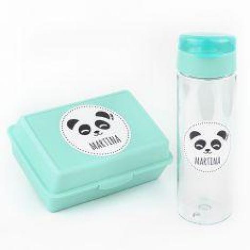 Pack botella y cajita porta alimentos Panda (colores)