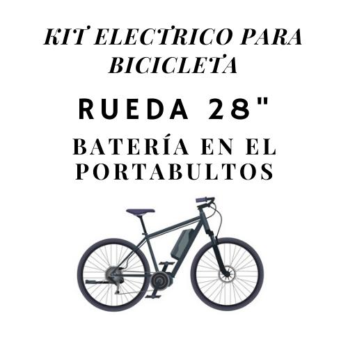 kit electrico para bicicleta rueda 28 bateria en el portabultos