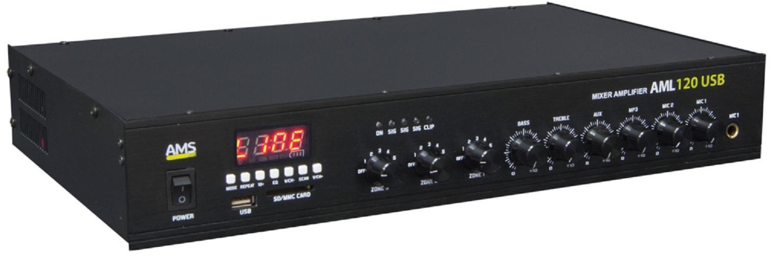 Ams Aml 120 Usb Amplificador/Mezclador para Instalación