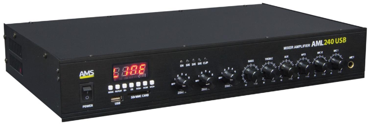 Ams Aml 240 Usb Amplificador/Mezclador para Instalación