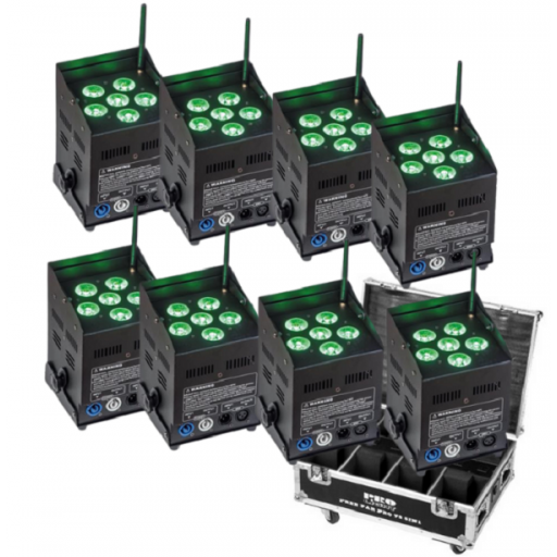 Prolight Free Par Pro 72 5-in-1 Foco Led (Pack 8 uds. + Flight Case)