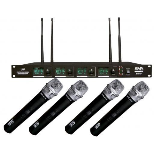Ams Mu 404/MM 104 Sistema Inalámbrico de Mano 4 canales
