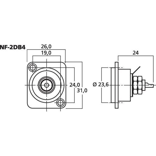 Neutrik Nf-2Db Conector Rca Chásis [3]