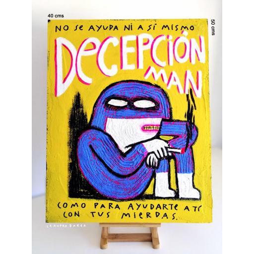 DECEPCION MAN. Ilustración original sobre tablilla de okume.
