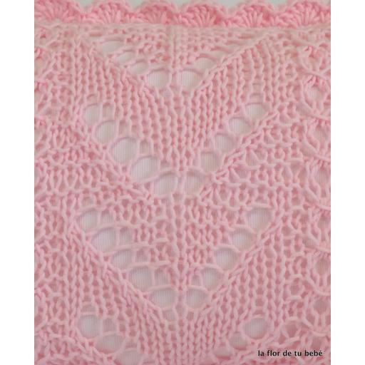 Cojín Crochet rectangular rosa bebé [2]