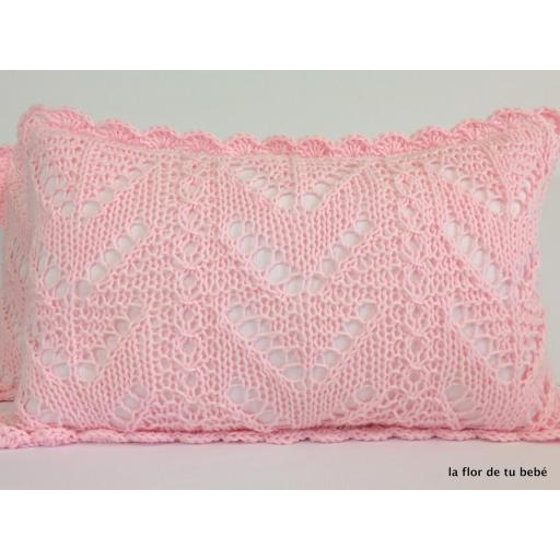 Cojín Crochet rectangular rosa bebé [3]