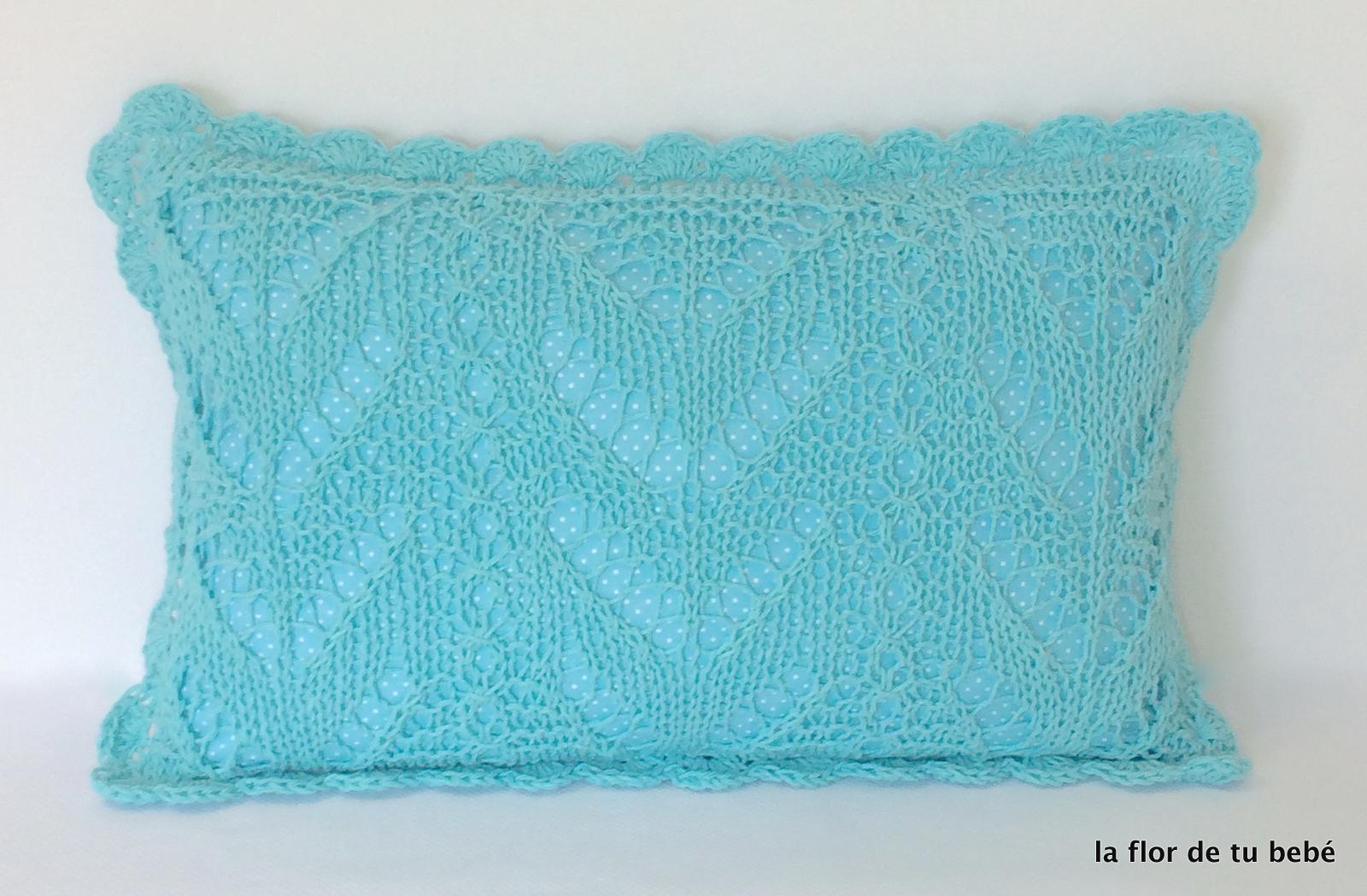 Cojín Crochet rectangular Turquesa