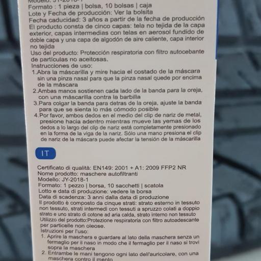 Mascarilla FFP2 Blancas, Caja 10 unidades, Adulto [1]