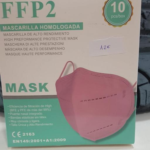 Mascarilla FFP2 Rosa, Caja 10 unidades Adulto