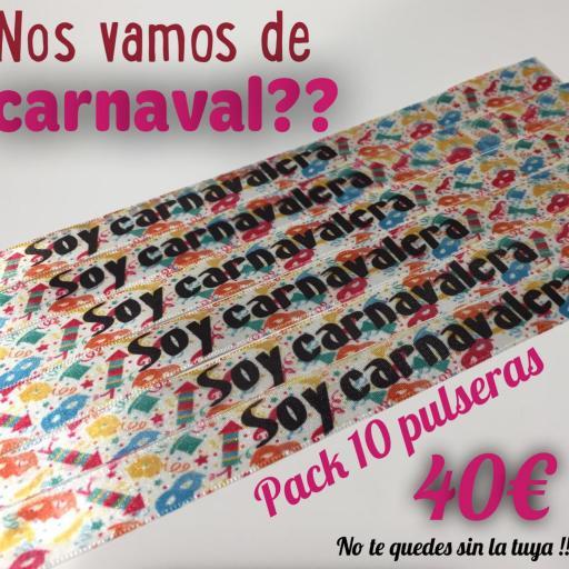 PULSERAS CARNAVALERA O CARNAVALERO PACK DE 10 UNIDADES