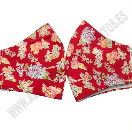 Mascarilla Estampado Flower Red
