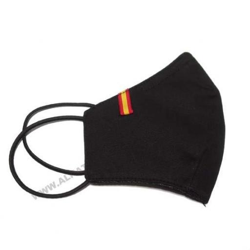 Mascarilla con bandera de España negro [1]