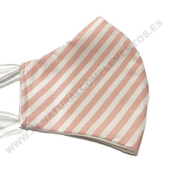 Mascarilla Stripes rosa