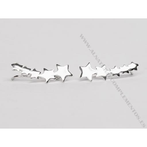 Pendientes trepadores de plata estrellas [1]