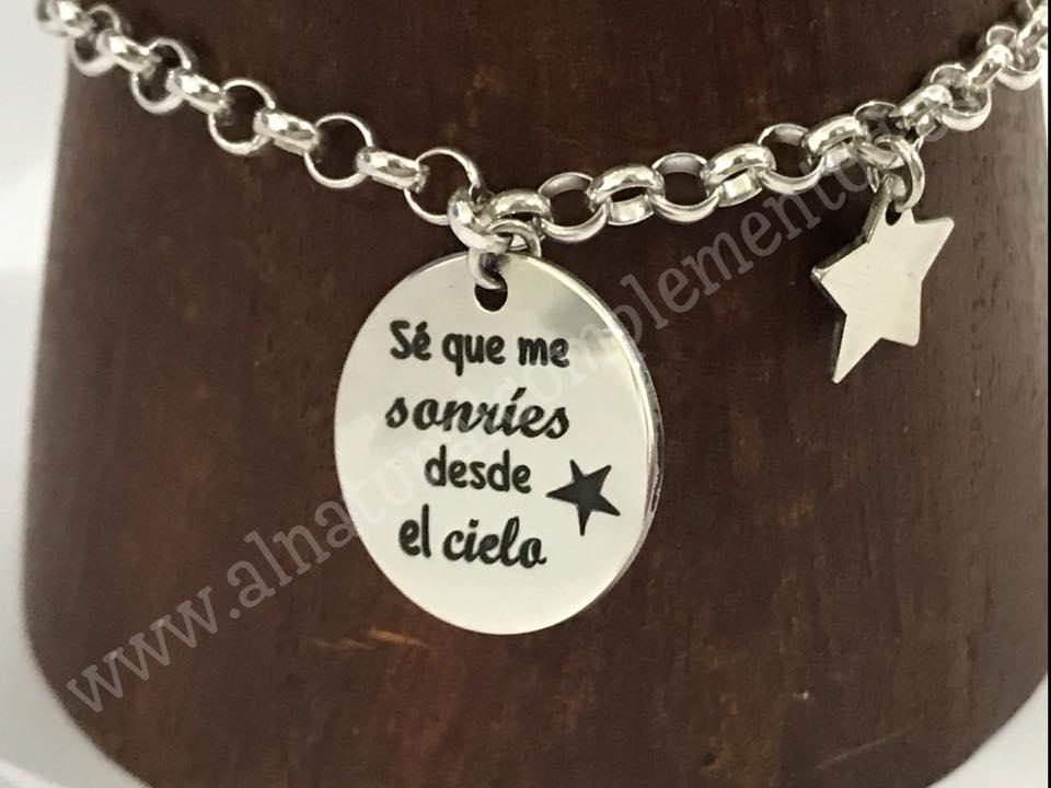 Pulsera Se que me sonríes desde el cielo Plata con Estrella