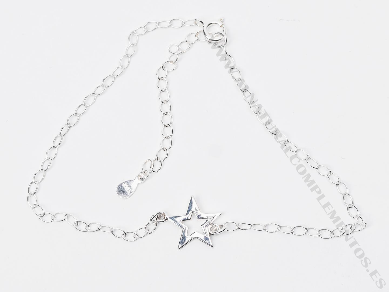 Tobillera de plata con estrella