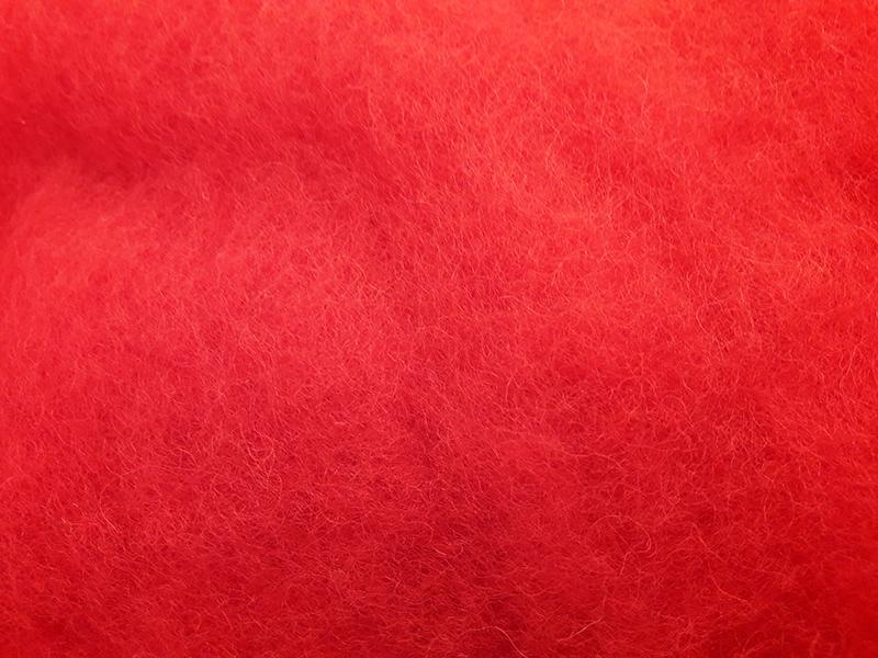 Lana Cardada Fina Rojo Fuego