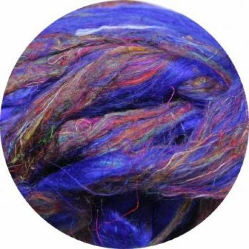 Fibra de Seda Sari Cardada Púrpura-Azul [1]
