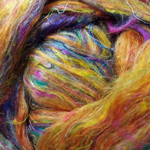 Fibra de Seda Sari Cardada Amarilla