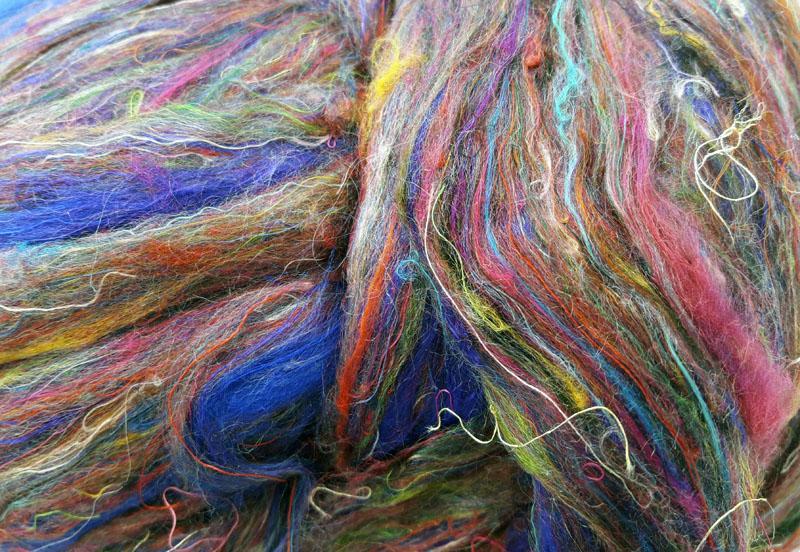 Fibra de Seda Sari Cardada Púrpura-Azul