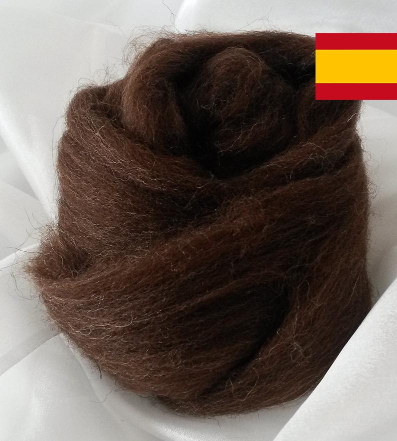 Lana Peinada Fina Marrón Española
