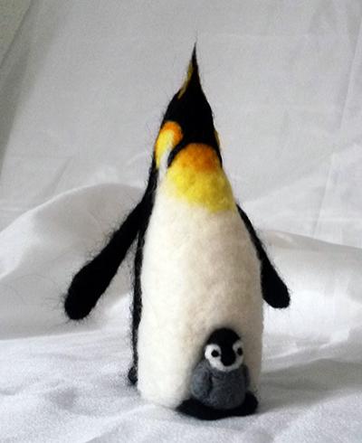 Pingüino Emperador con Polluelo Felting