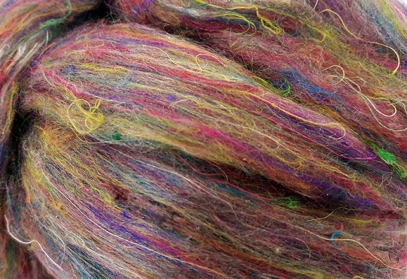 Fibra de Seda Sari Cardada Multicolor