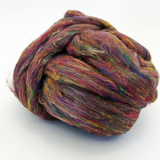 Fibra de Seda Sari Cardada Multicolor [2]