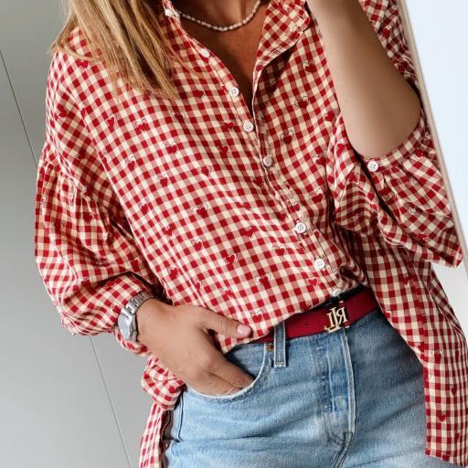 Camisa Oversize Vichy & Hearts (Ref.5780)