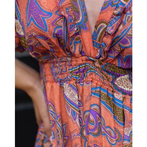 Vestido Peach Paisley (Ref.5645)