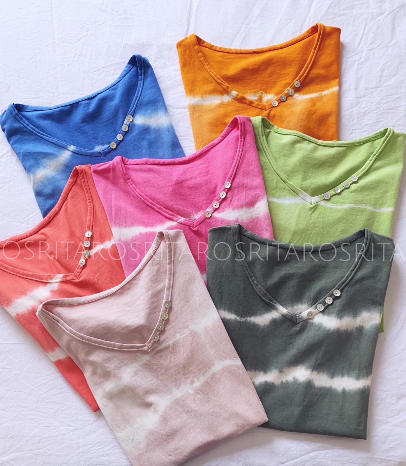 Camiseta Tie Dye Pico Botones (Ref. 2171)