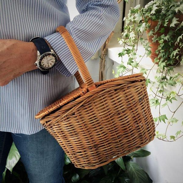 cesta de bambu pequeña con tapas
