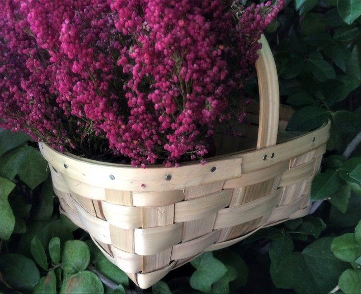 cesta de castaño para setas con asa plana