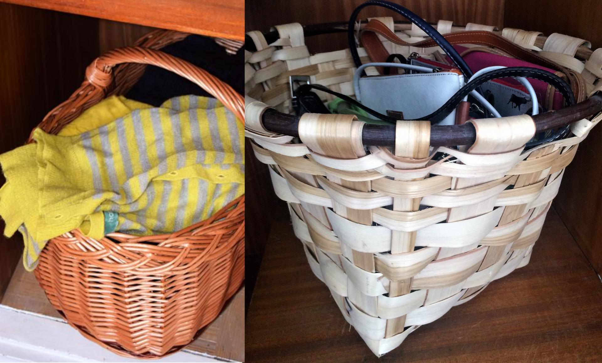 Canasto de castaño y cesta armario