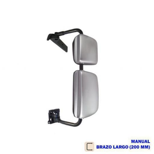 RETROVISOR COMPLETO IZQDO. MANUAL CROMADO BRAZO LARGO 200 MM. VOLVO/RENAULT