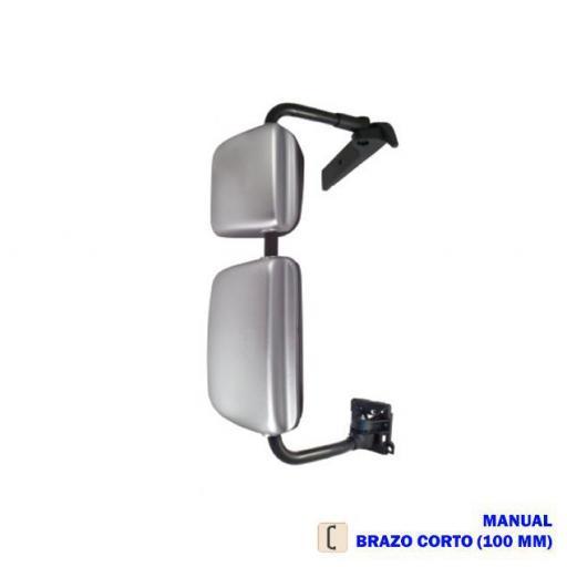 RETROVISOR COMPLETO DCHO. MANUAL CROMADO BRAZO CORTO 100 MM. VOLVO/RENAULT