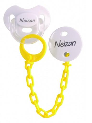 Chupete+Cadena personalizado amarillo Boann 061