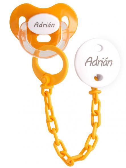 Chupete+Cadena Personalizado Naranja Boann 057