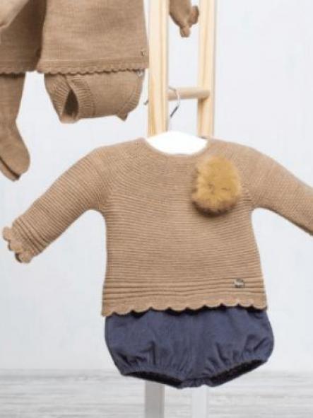 Conjunto jersey pompón pantalón pana
