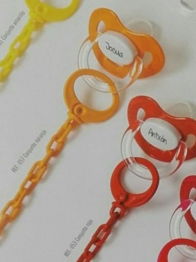 Chupete+Cadena Personalizado Naranja Boann 057 [1]