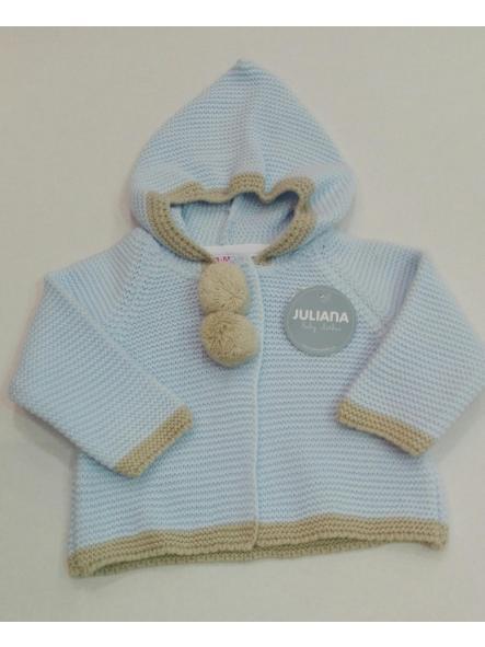 Chaqueta capucha pompones bebé [0]