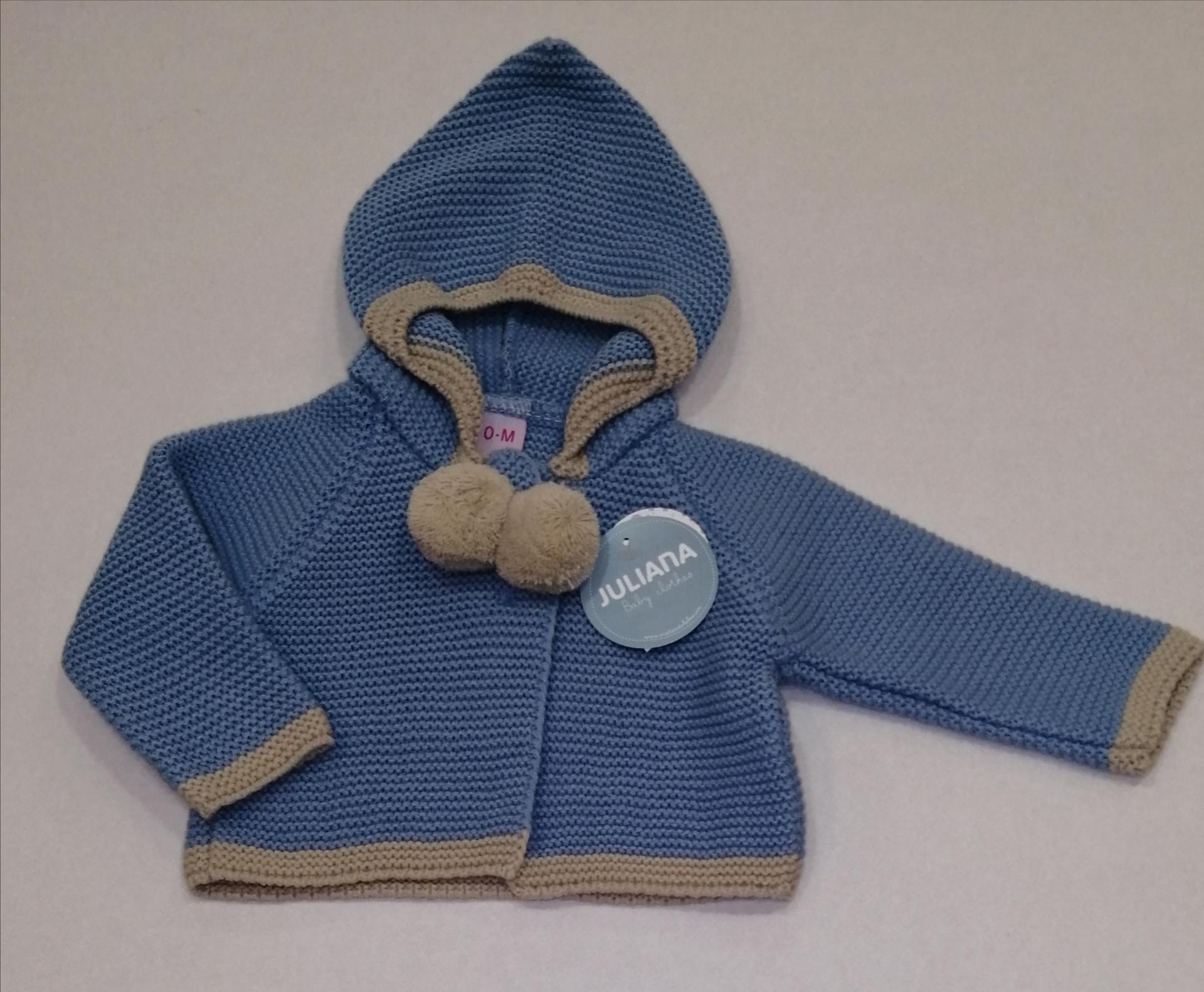Chaqueta capucha pompones bebé