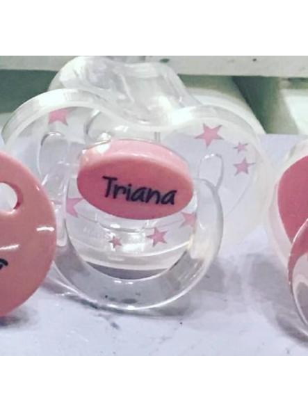 Chupete personalizado transparente estrellas rosa Boann 026