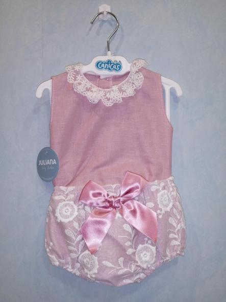 Conjunto camisa encaje de bebé niña