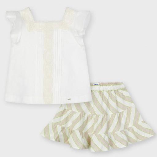 Conjunto niña falda rayas