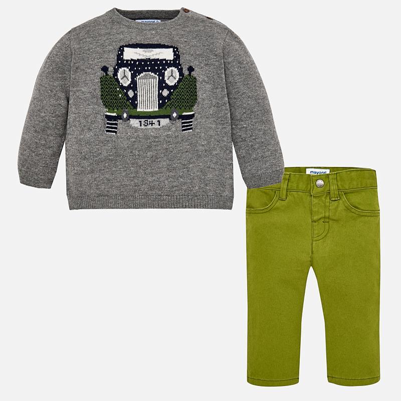 Conjunto bebe jersey tricot  Ceniza y pantalon Mayoral 2588