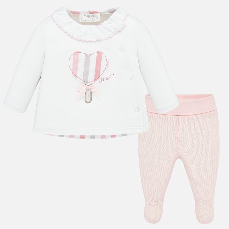 Conjunto bebé niña polaina y camiseta