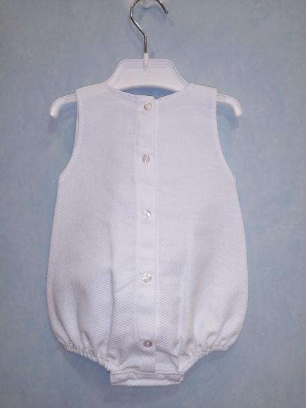 Pelele sin manga piqué blanco tachón [2]