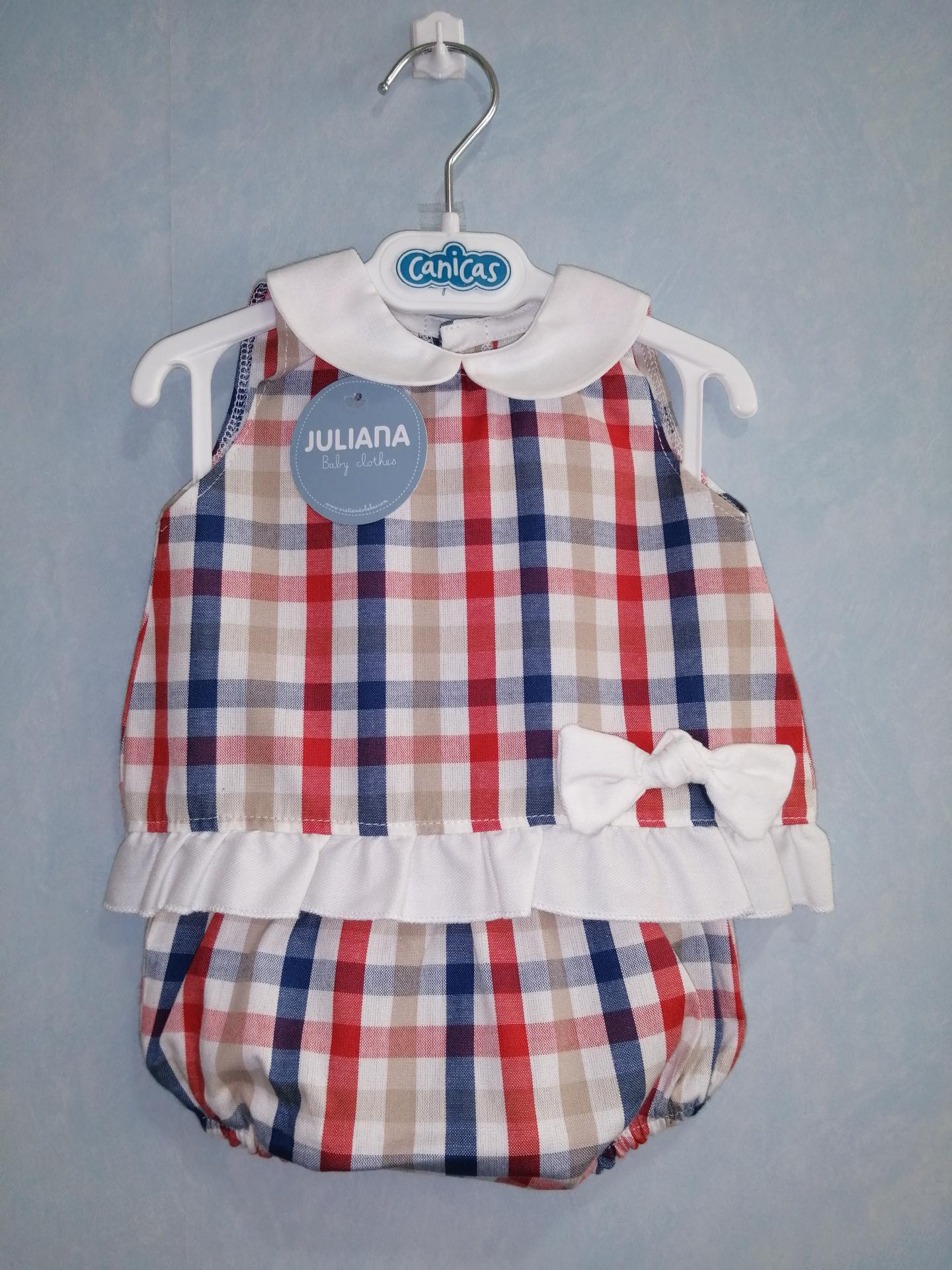 Conjunto tela cuadritos y cuello bebé
