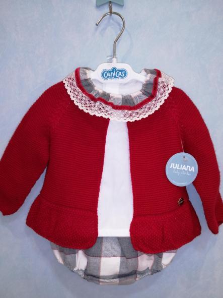 Conjunto Juliana rebeca roja camisa y braga cuadros
